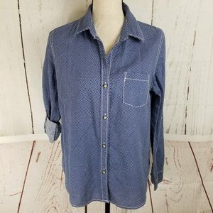 DKNY Jeans Button Up Shirt Sz S Blue White Star